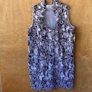 NWT AA Studio Black White Floral Sleeveless Dress